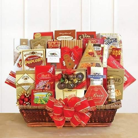 Holiday Extravaganza Gift Basket - Send BIG holiday wishes their way and let them know how much you appreciate them! This gourmet extravaganza of goodies is filled to the brim with warm holiday wishes and warm thoughts.