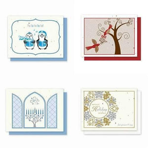 This 4 Pack of Holiday Greeting Cards Variety Pack includes:  1 Penguins 1 Red Bird Card 1 Hanukkah Chanukah Holiday 1 Damask Wreath   Each card is embedded with a colorful array of Wildflower seeds.