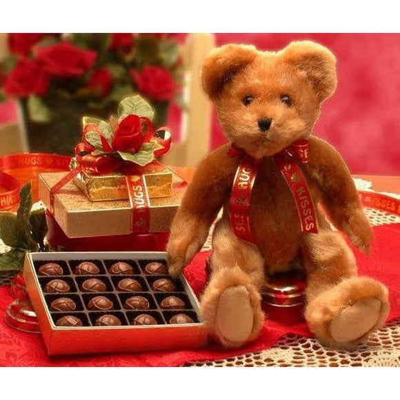Hugs and Kisses Bear with Chocolates - Fine Gifts La Bella Basket Company