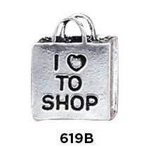 I Love to Shop Charm Sterling Silver - Fine Gifts La Bella Basket Company