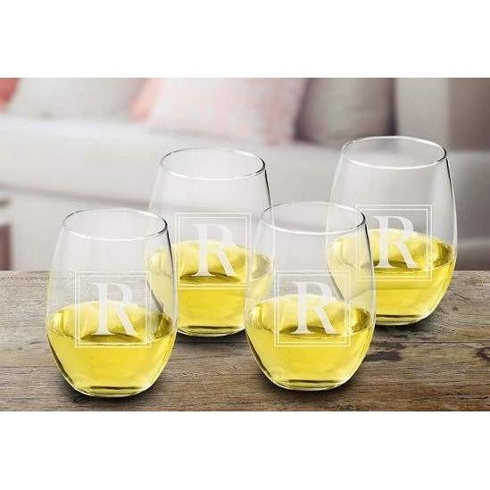 Initial Stemless Wine Glass Set - Fine Gifts La Bella Basket Company