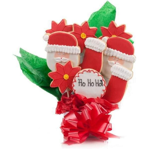 Jolly Santa Cookie Bouquet - Fine Gifts La Bella Basket Company