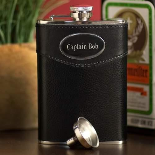 Leather Wrapped Flask 8 oz - Fine Gifts La Bella Basket Company