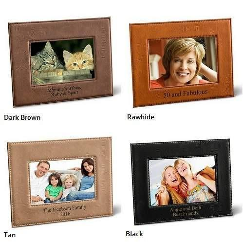 Leatherette Picture Frame - Dark Brown - Rawhide - Tan - Black - Fine Gifts La Bella Basket Company