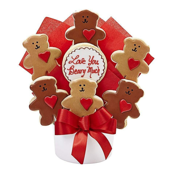 Love You Beary Much 7 Cookie Bouquet - Fine Gifts La Bella Basket Company