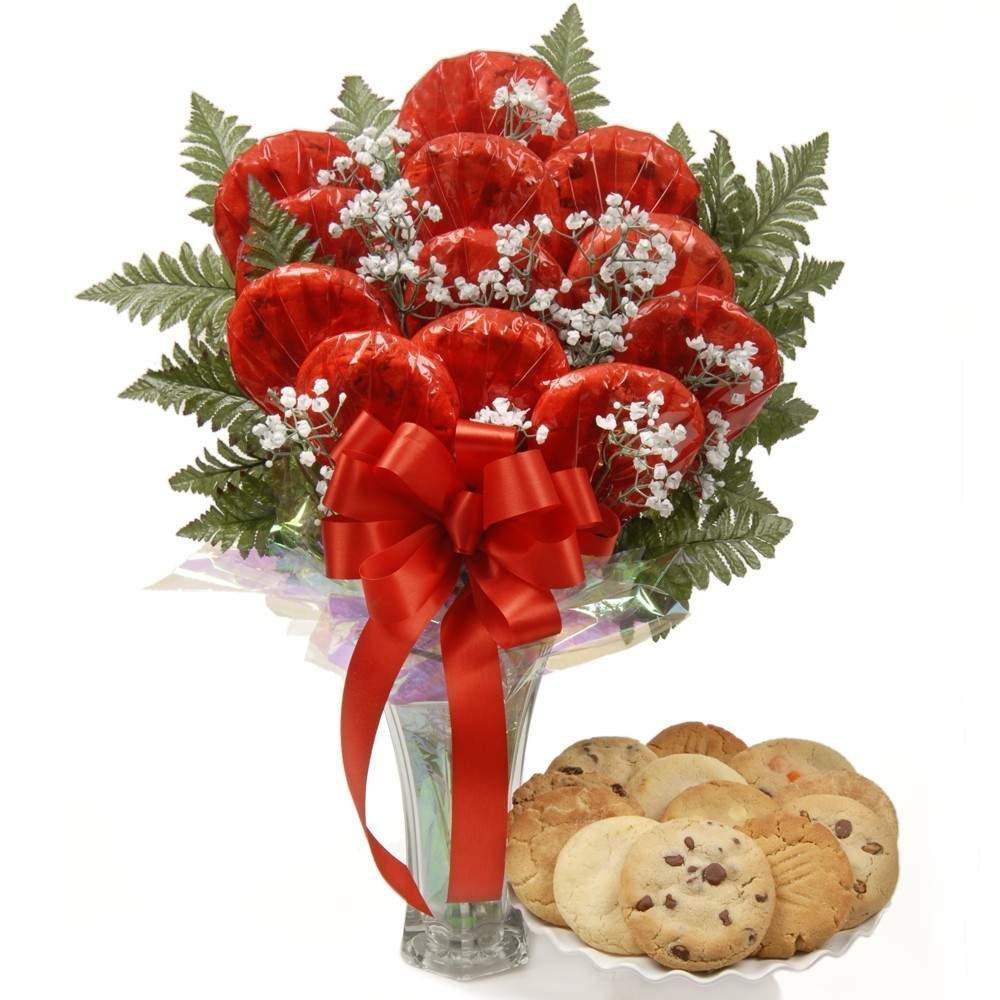 Luscious Longstems in a Vase Cookie Bouquet - Fine Gifts La Bella Basket Company