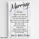 Marriage Recipe Canvas Sign - Fine Gifts La Bella Basket Company