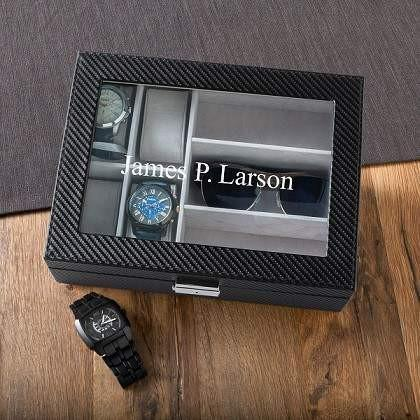 Men's Watch Box with Sunglasses Holder