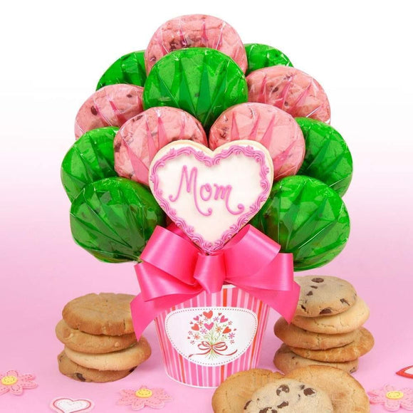 Mom Heart Cookie Bouquet - Fine Gifts La Bella Basket Company