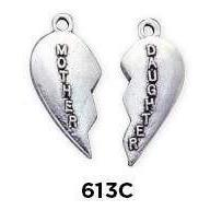 Mother and Daughter Heart 2pc Charm - Fine Gifts La Bella Basket Company
