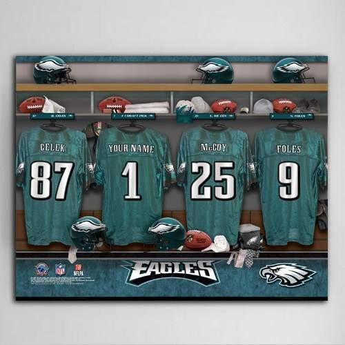 NFL Locker Room with Jersey Canvas Print - Fine Gifts La Bella Basket Company