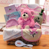 Deluxe Organic New Baby Basics Pink or Blue Gift Baskets - Fine Gifts La Bella Basket Company