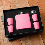 6oz Matte Pink Flask w/Shot Glass Gift Box Set