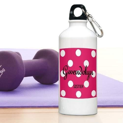 Polka Dots Water Bottle - Fine Gifts La Bella Basket Company