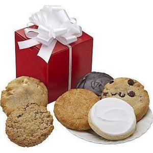 "Red Cookie Box  When sending a "" little something "" is all you need, this bring red box filled with six of our most popular cookie flavors is the perfect gift."