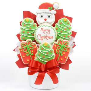 Santa 7 Piece Cutout Cookie Bouquet - Fine Gifts La Bella Basket Company