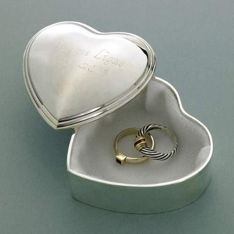 Silver Plated Heart Trinket Box - Fine Gifts La Bella Basket Company