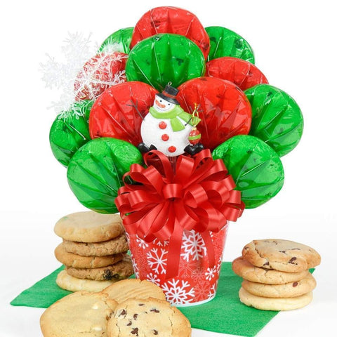Snowman Ornament Cookie Bouquet - Fine Gifts La Bella Basket Company