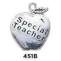 Special Teacher Apple Charm Sterling Silver .925 - Fine Gifts La Bella Basket Company