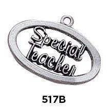 Special Teacher Oval Charm Sterling Silver .925 - Fine Gifts La Bella Basket Company