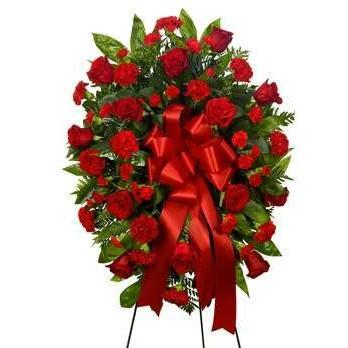 Standing Spray - Red Floral Flower Spray - Fine Gifts La Bella Basket Company