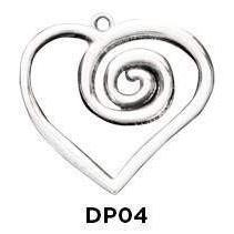 Swirl Heart Large Charm in .925 Sterling Silver - Fine Gifts La Bella Basket Company