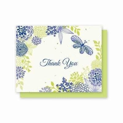 Thank You Flowers and Butterfly Plantable Greeting Cards - 5 Pack - Fine Gifts La Bella Basket Company