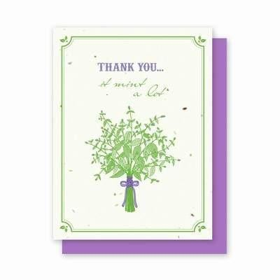 Thank You Mint Plantable Cards - 4 Pk - Fine Gifts La Bella Basket Company