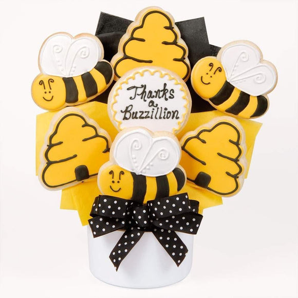 Thanks A Buzzillion Cutout Cookie Bouquet - Fine Gifts La Bella Basket Company