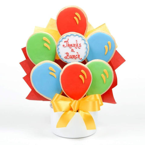 Thanks Balloon Cutout Cookie Bouquet - Fine Gifts La Bella Basket Company