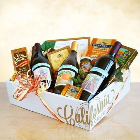The Classic Three Amigos Wine Basket  Our signature California Delicious gift box holds wines and gourmet delights hand selected just for you. Surprise someone special with California gourmet greetings that include three bottles of Regalo Valley Ranch wines, including a 2013 Sauvignon Blanc, a 2013 smooth Merlot and a 2013 Pinot Noir.