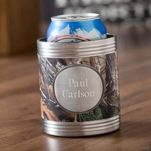 Tree Camo Koozie with Pewter Medallion - Fine Gifts La Bella Basket Company