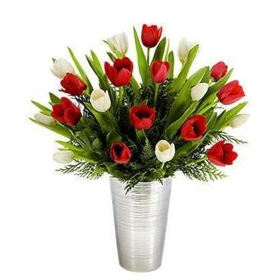 Tulip Surprise Flower Arrangement Same Day and Hand Delivered - Fine Gifts La Bella Basket Company