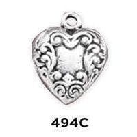 Victorian Etched HeartCharm Sterling Silver - Fine Gifts La Bella Basket Company