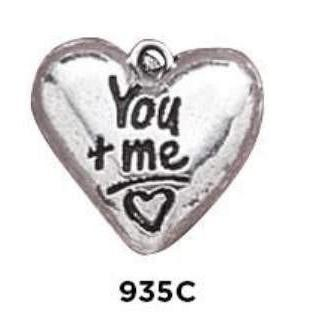 You plus Me = Love Heart Charm - Fine Gifts La Bella Basket Company