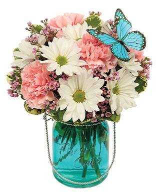 Quaint Blue Butterfly Flower Arrangement - Fine Gifts La Bella Basket Company