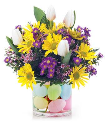 Sunshine Tulips Easter Floral Arrangement - Fine Gifts La Bella Basket Company