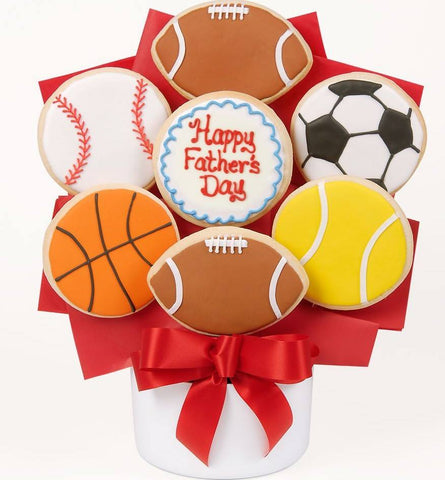 Happy Fathers Day Sports Cookies - Fine Gifts La Bella Basket Company