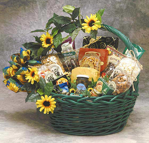 Sunflower Treats Gift Basket Small Or Medium - Fine Gifts La Bella Basket Company