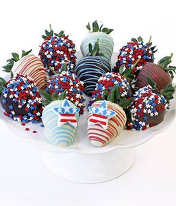 Patriotic Chocolate Strawberries - One Dozen