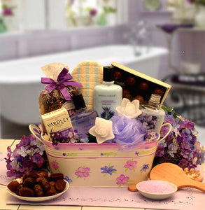 Tranquility Bath and Body Spa Gift with Floral Planter - Fine Gifts La Bella Basket Company