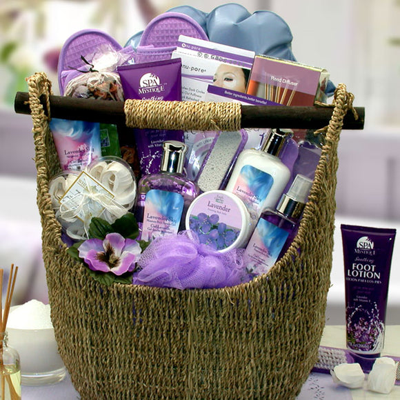 Lavender Sky Bath and Body Gift Tote Basket Ultimate - Fine Gifts La Bella Basket Company