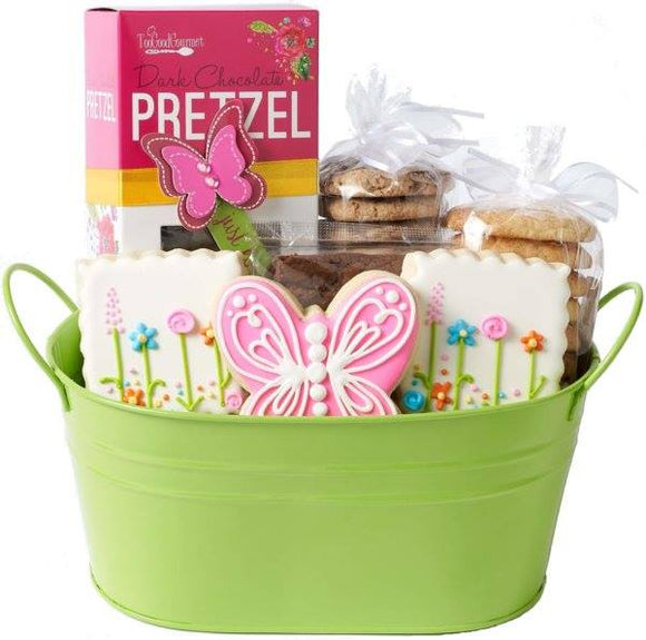 Butterflies and Flowers Gourmet Tin Basket