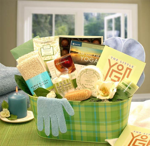 A Little Yoga Spa Gift Basket With Book & DVD