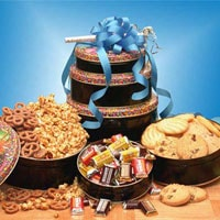 Birthday Treats Tower - Fine Gifts La Bella Basket Company