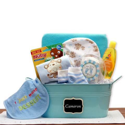 Baby Basics Blue Gift Basket