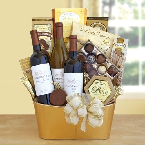 Golden Vineyard Wine Gourmet Gift - Fine Gifts La Bella Basket Company