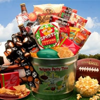 Tailgate Party Time Football Gift Pail - Fine Gifts La Bella Basket Company