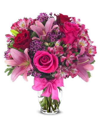 Celebrating Lilie Rose Flower Bouquet - Fine Gifts La Bella Basket Company