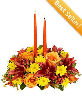 Autumn Moments Centerpiece Flower Arrangement - Fine Gifts La Bella Basket Company